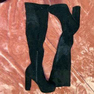 FOREVER 21 black suede thigh high boots